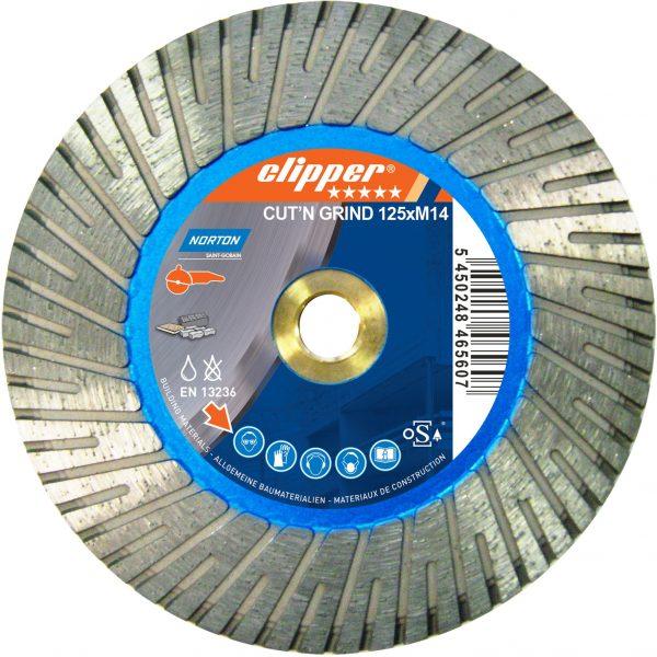 2 i 1 klingen anbefales til skæring og slibning i beton, beton med vasket tilslag, metal og natursten.